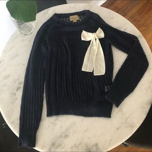 Wildfox White Label Navy jumper w/ white bow